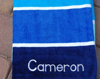 Personalized Beach Towel blue stripe towel with name embroidered on bottom