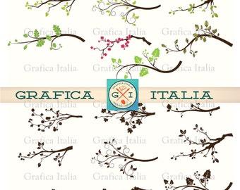 Spring Tree Branch ClipArt - Flowering Tree Clip Art - Digital Download Hi-Res Transparent Background Printable PNG Images Graphic Design