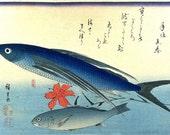 "Tobiuo/Tobiuwo and Ishimochi/Guchi/Shiroguchi (flying fish & white croaker) - Japanese woodblock print Ando Hiroshige ""A shoal of fishes"""