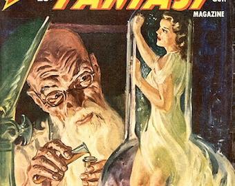 Vintage US pulp magazine cover art A. Merrit's Fantasy Magazine October 1950