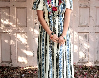 RESERVED FOR NIR Happy Ethnic Stripes Long Kaftan Dress (Galabiya) 1960 Vintage