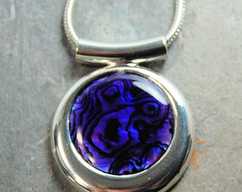 Purple Paua Shell Silver Pendant Necklace