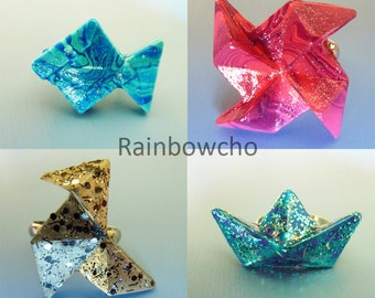 Ring in resin form origami. 1-choose from 4