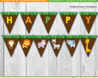 Safari Banner / Safari Party Banner /  Jungle Party Banner / Safari Party Printable / Safari Decoration / Pool Printable / INSTANT DOWNLOAD