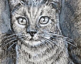 """ACEO original set of 5 - """"Cats portrait - Felines"""""""