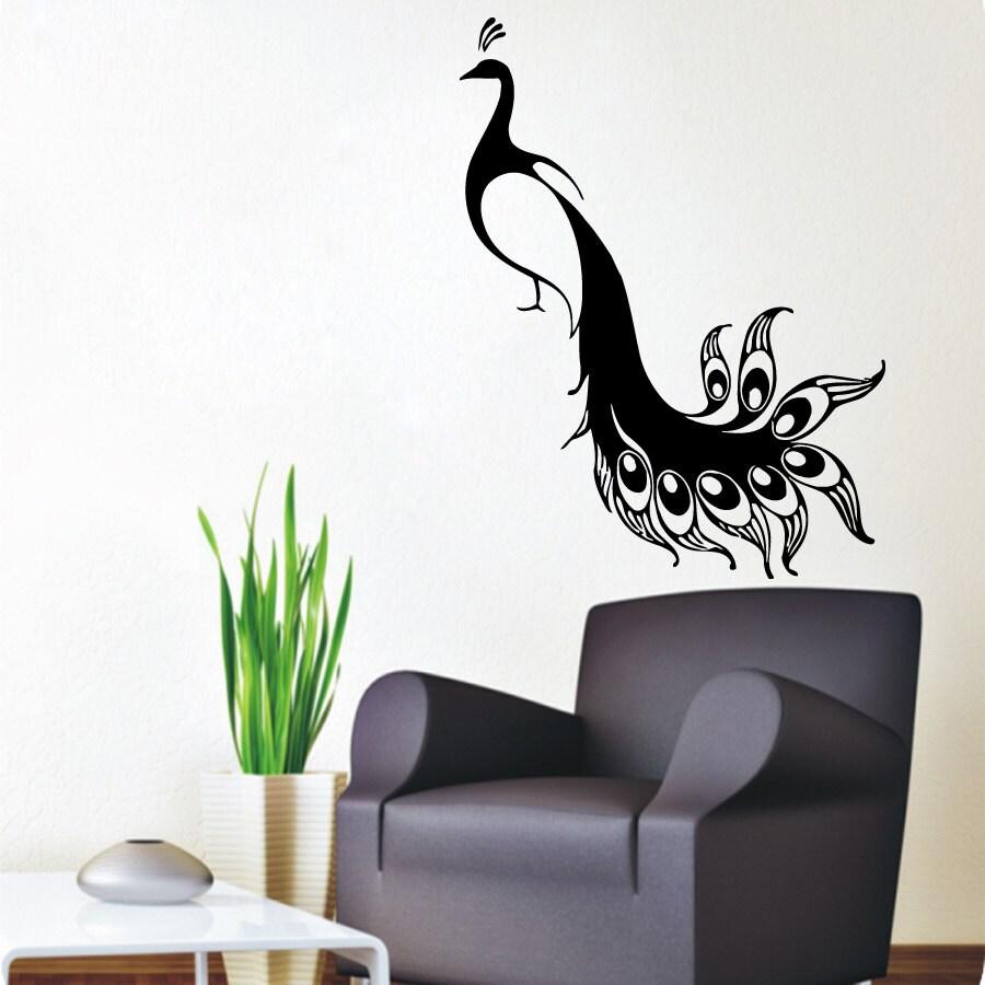 peacock wall decals bird stickers pets birds animals vinyl. Black Bedroom Furniture Sets. Home Design Ideas
