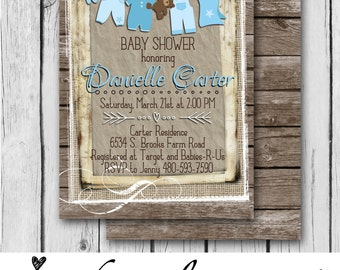 Rustic BOY BABY SHOWER Invitation, Blue, Wood, Bear, Overalls, Clothes, Burlap, Bows - Bridal Shower / Baby Shower - Digital and Printable