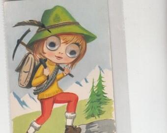 "European Girl Mountain Climber W Real Wiggle Eyes C1960s Vintage Postcard 4""X6"" Unused"
