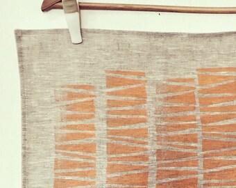 100% linen hand printed tea-towel