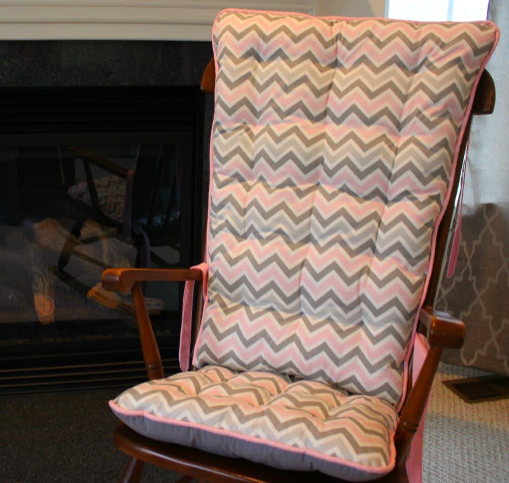 Pink And Gray Chevron Custom Rocking Chair Cushions