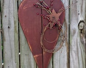 Large Primitive Heart with Grapevine, Berries and Rusty Star - Solid Wood - Handmade - Wall Hanging - OFG, FAAP, HAFAIR