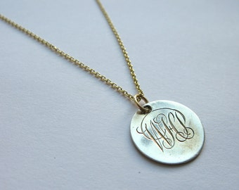 "SALE! 20% OFF! Antique Victorian Silver Love Token Coin Necklace - engraved ""whp"" (or could also be ""wj + cp"")"