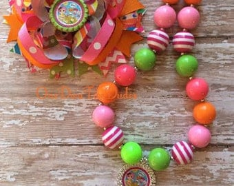 Lalaloopsy chunky necklace stacked hair bow set