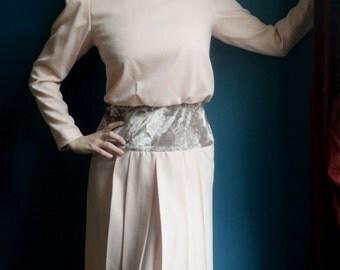 Pink with Velvet Details Vintage Dress