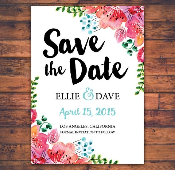 Save The Date Wedding Floral Ornament Wedding Floral: Items Similar To Floral Save The Date Wedding Invitation