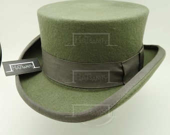 Vintage x Trendy Wool Felt Formal Tuxedo Short Topper Top Hat - Grey