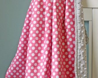Personalized Baby Blanket / Baby Girl Stroller Blanket / Pink Monogrammed Minky Baby Blanket