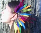 Feather Earcuff, Bird of Paradise, feather ear cuff,  feather, feather earring, free people, Native, american, style, Indian ,colorful
