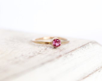 Pink Ruby Ring - July Birthstone Ring - 14k Gold Fill or Sterling Silver - Stacking Ring - Ruby Jewelry - Pink Gemstone Ring Bridesmaid Gift