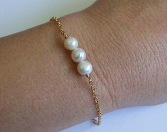 Gold Bracelet Freshwater Pearl Bracelet Bridesmaid Gifts Wedding Jewelry