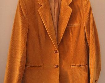 Vintage Corduroy Blazer 70s 60s Small Medium 6 8
