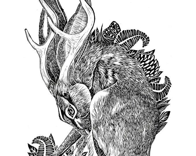 Jackalope Linocut Illustration Relief Print A2 Hare Rabbit