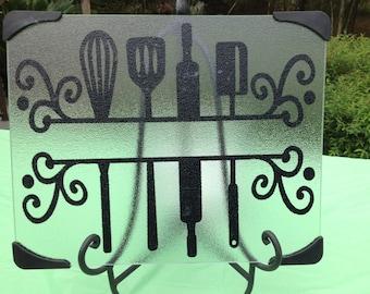 12x15 personalized glass cutting board