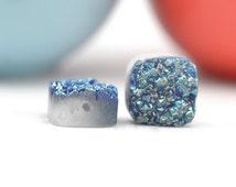 Blue Druzy Beads   Blue Green Druzy Quartz   Druzy Square 12mm Beads   Teal Druzy Quartz Drilled   2 Blue Green 12mm Druzy