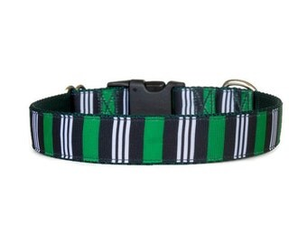 Preppy Green, Black, and White Striped Boy Dog Collar (Buckle or Martingale)