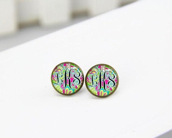 earrings, monogrammed earrings, monogram earrings, lilly, custom initials earrings, post stud earrings, stud earings, trending earrings