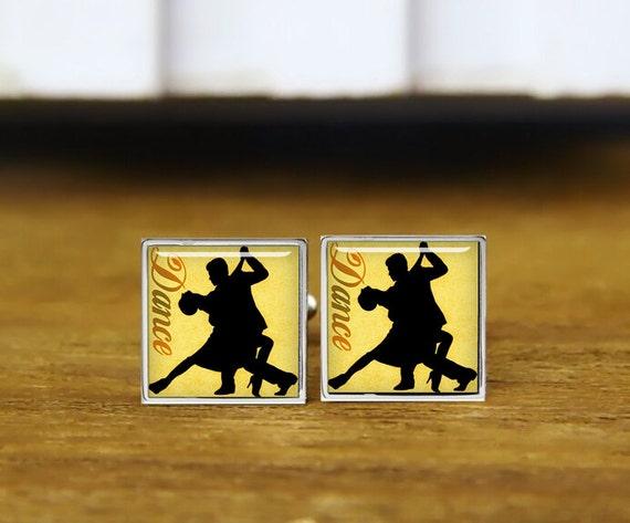dancing couple cufflinks, silhouette cufflinks, personalized cufflinks, custom wedding cufflinks, round, square cufflinks, tie clips, or set