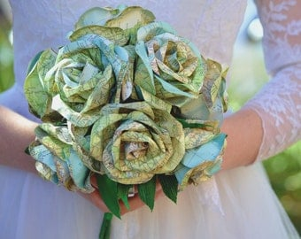 Wedding Paper Flower Atlas Map Alternative Bridal Bouquet