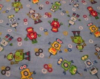 Robots on Blue 100% Flannel
