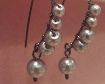 Pearl wrapped earrings