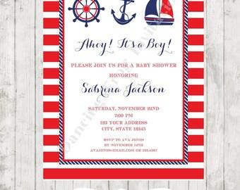 Nautical Baby Shower Invitation - Printed Nautical Baby Shower Invitation by Dancing Frog Invitations