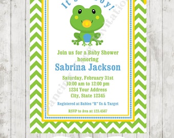 Frog Baby Shower Invitations - Printed Frog Baby Shower Invitation by Dancing Frog Invitations