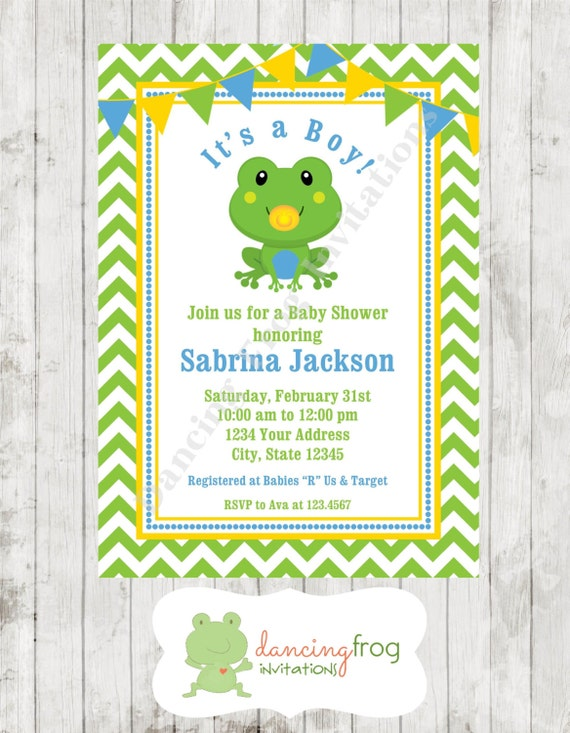 Frog Baby Shower Invitations Printed Frog Baby Shower