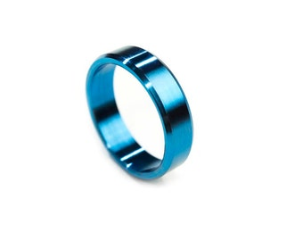 Titanium Ring Wedding Band Engraved Electric Blue