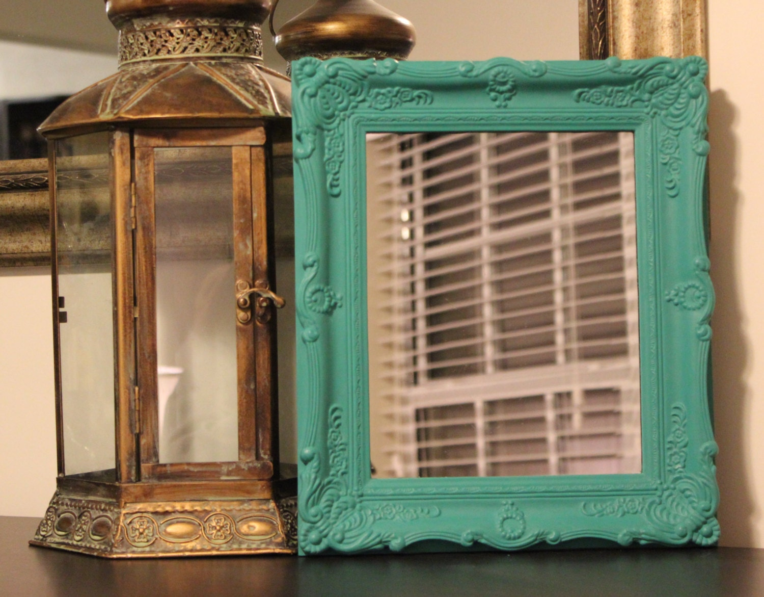 Detailed ornate turquoise mirror teal mirror teal by for Teal framed mirror