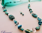 Aqua necklace Semi Precious Beaded Necklace Sterling Silver Turquoise necklace Teal necklace Beaded Handmade Beauje Gemstone Jewellery