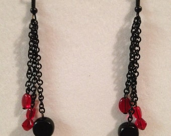 Red and black beaded chain earrings