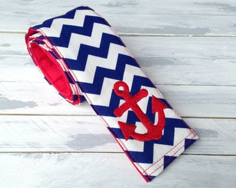 DSLR Camera Strap Cover - Lens Pocket and Padded-Navy Chevron Nautical -DSLR Camera Strap Cover-Navy-Red-Anchor-Military-Photographer Gift