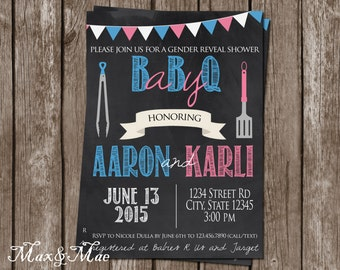 Baby BBQ Shower Invitation, Books For Baby Insert, Gender Reveal Shower, Couples Shower Invitation, Chalkboard Baby, Printable, Digital
