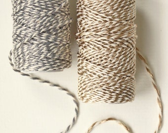 Bakers Cotton Twine 20m roll - silver & gold