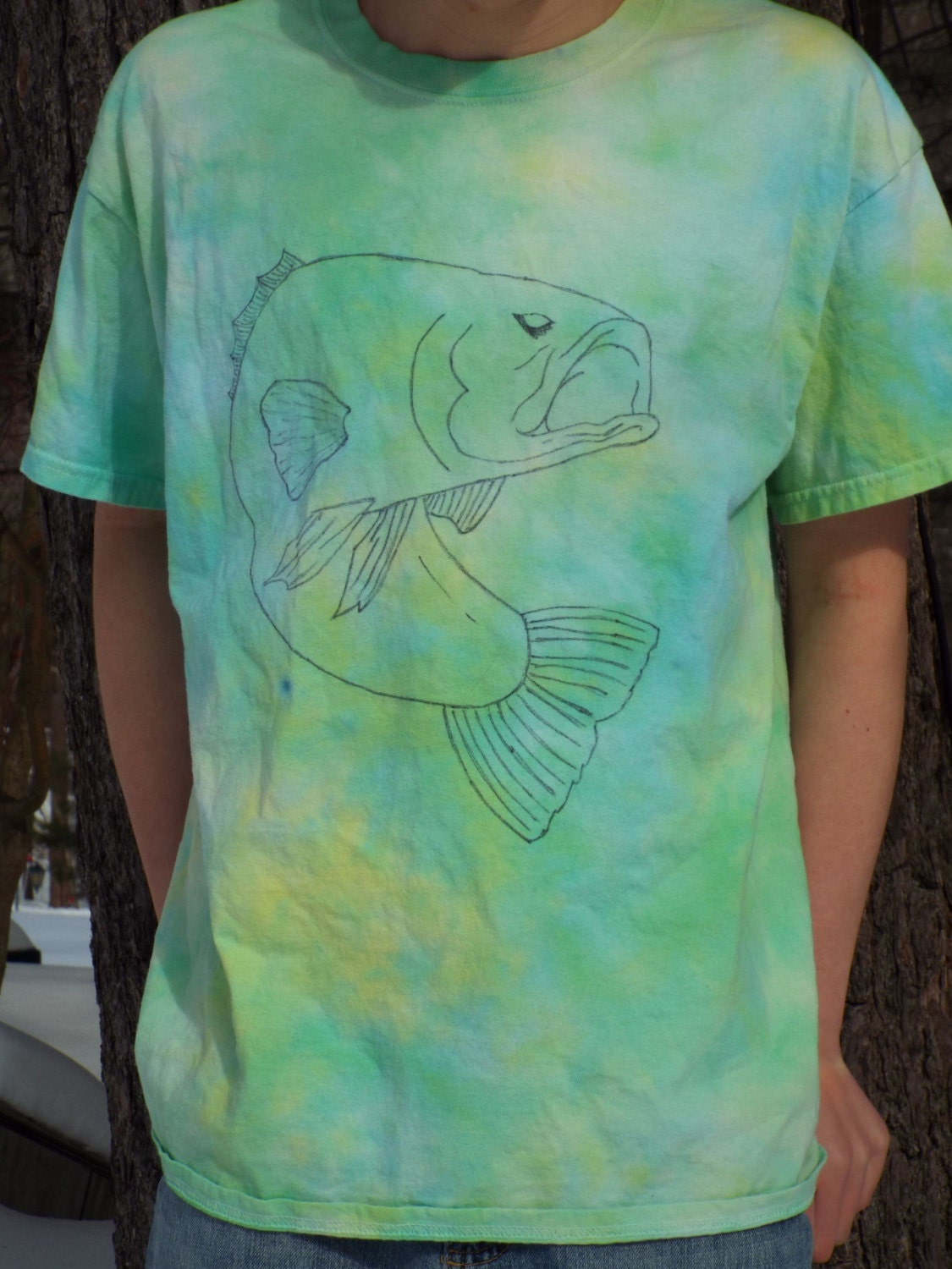 Bass shirt fishing shirt tie dye fish shirt fisherman gift for Bass fishing shirt