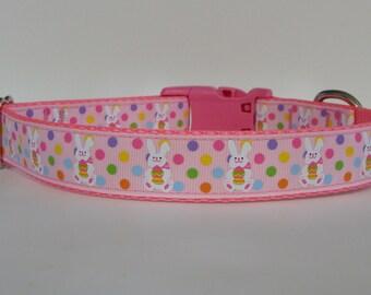 Polka Dot Easter Bunny Dog Collar - Pink - READY TO SHIP!