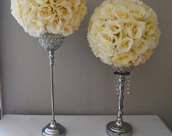Pink blush flower ball with bling pearl brooches pink blush set of 2 14 ivory cream elegant wedding silk flower balls wedding centerpiece mightylinksfo