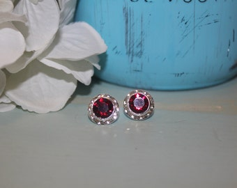 Siam Crystal Post Earrings 13mm Chaton