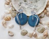 Pale Blue Earrings, Powder Blue Earrings, Light Blue Jewelry, Lightweight Earrings, Coconut Shell Earrings, Light Blue Earrings