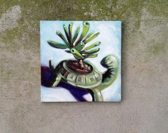 Original Oil Painting of Cosmic Turtle Planter with Jade Tree